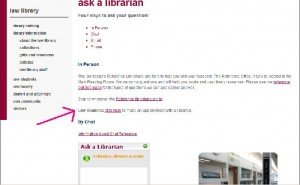 Ask a Librarian page, Make an Appoinment with a Librarian link