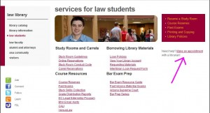 Law Students page, Make an Appoinment with a Librarian link